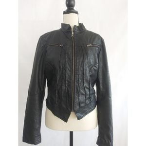 Faux Leather Crop Motorcycle Biker Jacket